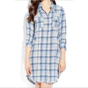 Free people blue plaid shirt dress tunic small